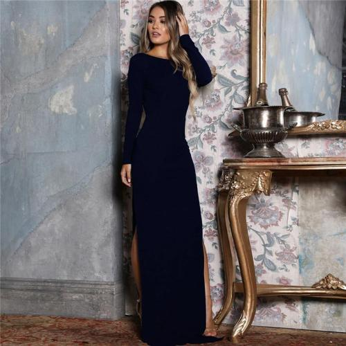 Long Sleeve Elegant Party Maxi Dress Solid Side High Split Backless Sexy Long Dresses Black Yellow Wrap Vestidos Femme 6 Colors