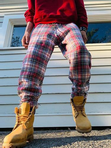 Classic plaid casual loose pants TT010