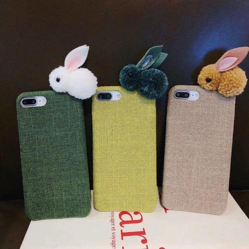 3D Cute rabbit Plush doll cloth phone case for iPhone