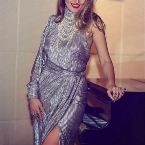 Elegant High Collar Asymmetric Split Solid Color Dress