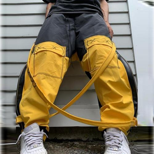 Contrast straps casual loose mens trousers TT010