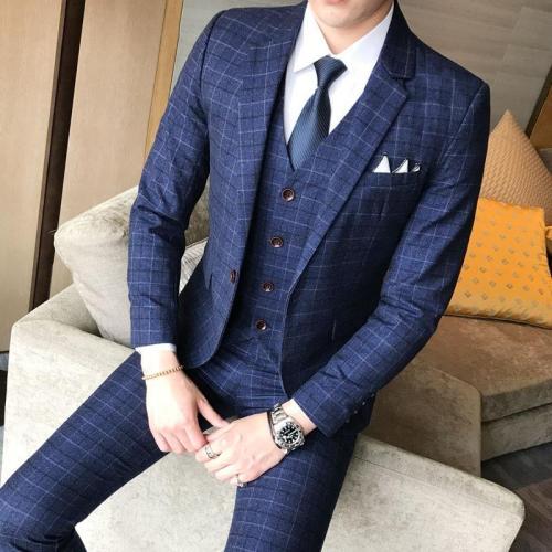 (Blazer+Pants+Vest) Luxury Men Suit 3 Piece Set Fashion Boutique Lattice Groom Wedding Dress Men's Tuxedo Men Banquet Club Dress
