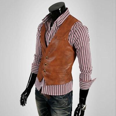 ZOGAA New PU Leather Men Vest Motorcycle Sleeveless Jacket Korean Version Waistcoat Slim Fit Casual Coat Vest Male Solid Jacket