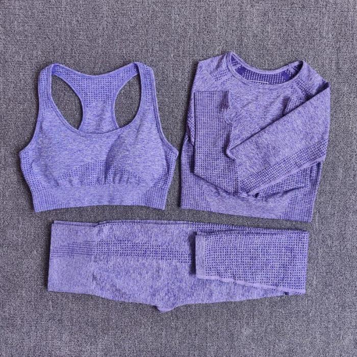 Women Seamless Yoga Set Fitness Sports Suits Gym Clothing Long Sleeve Crop Top Shirts High Waist Running Leggings Workout Pants