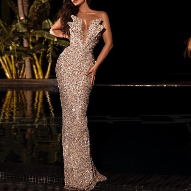 Sexy Wrapped Chest Halter Evening Dress
