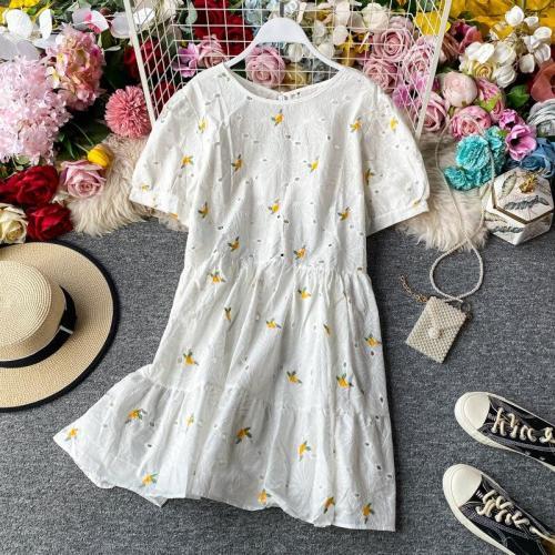 JOYMANMALL Women Sweet Embroidery Dress New Korean Loose O Neck Sexy Backless A-line Dress Summer Romantic Beach Vacation Dress