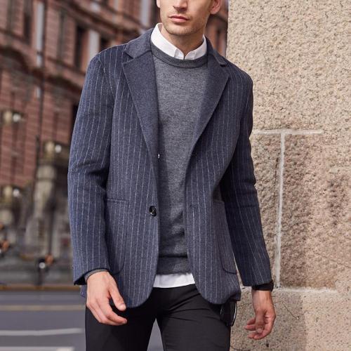 Men'S Lapel Single Buckle Pinstriped Suit