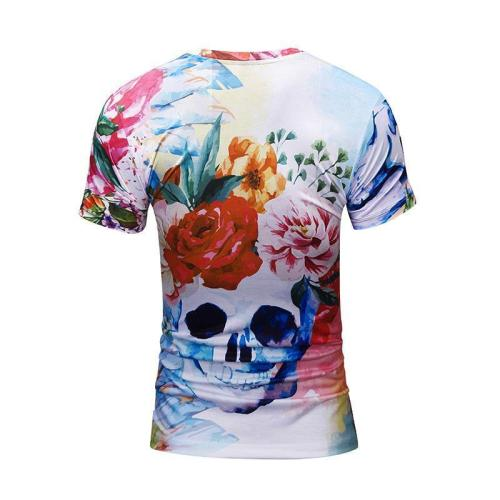 Halloween 3D Skull Floral Print Men's T-Shirt