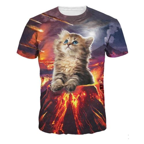 Flame Cat Printed Casual Short Sleeve T-shirt