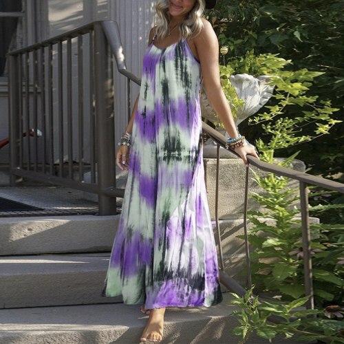 Fashion Tie-dye Print Dress Women Gradient Loose Sleeveless Dress Female Beach V-neck Casual Dress