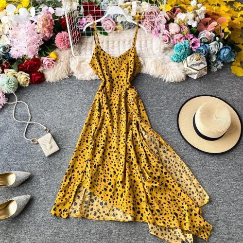 JOYMANMALL Women Summer Leopard Print Dress Fashion Irregular V Neck A-line Chiffon Dress French Bohemian Beach Holiday Midi Dress