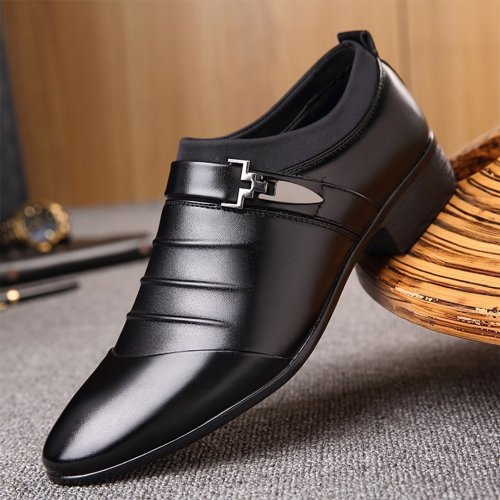 Men's breathable casual business dress pointed leather shoes