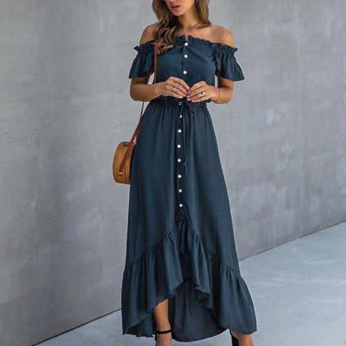 SWQZVT New Summer Dress Short Sleeve Beach Dress Fashion Solid Women Long Dress Casual Female Party Vestidos Green