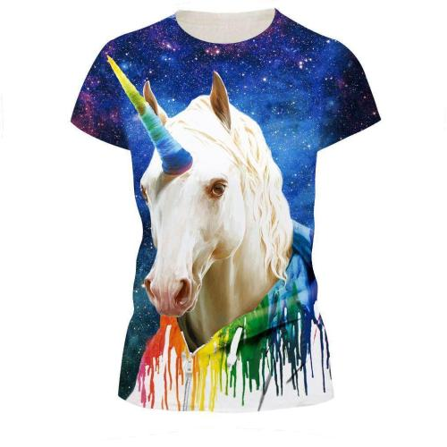 White Horse Printed Casual Short Sleeve T-shirt