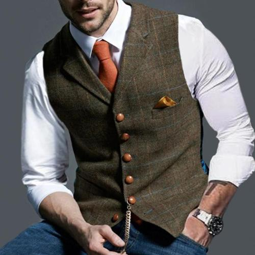 Vintage Button Checked Suit Waistcoat
