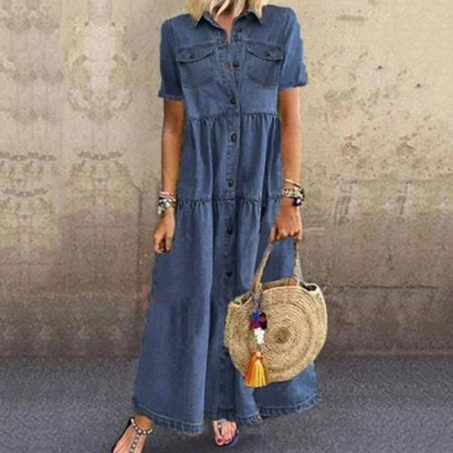 Denim Dresses Women Autumn Casual Vintage Single Breasted Turn-down Collar Pockets Loose Long Maxi Dress Boho Dress