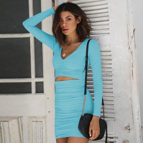 Long sleeve sexy V-neck slim bodycon mini dress