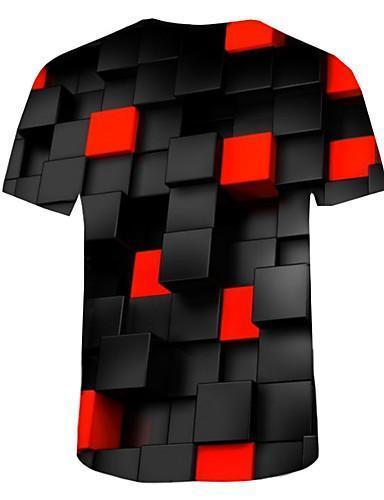 Men Basic 3D Print Round Neck Plus Size Cotton T Shirt