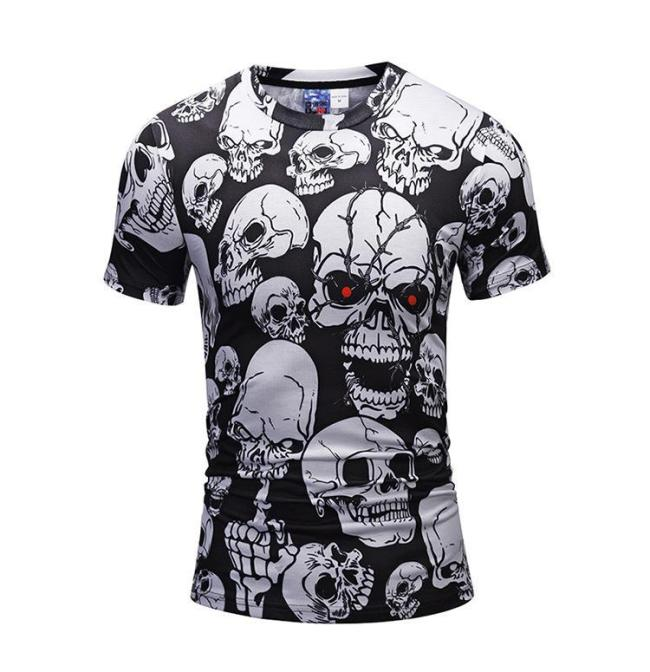 Halloween Men's 3D Skull Print Casual T-shirt