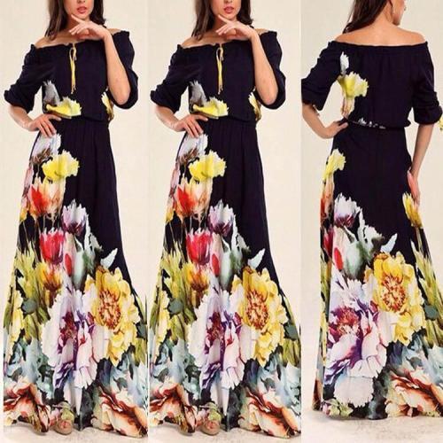 Off Shoulder Elastic Waist Half Sleeve Floral Maxi Beach Vacation Dress