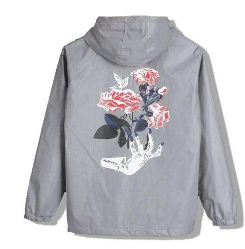 2020 New Brand Ghost hand Rose Flower Light Men's Jacket Autumn 3M Reflective Jacket Hip Hop Waterproof Windbreaker Men Coats