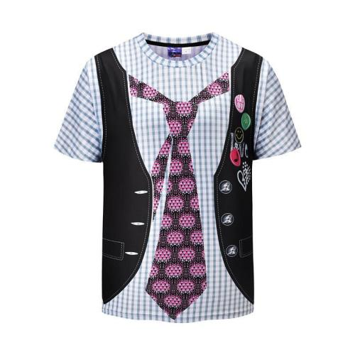 Men's Fake Two Vest Printing Loose T-shirt