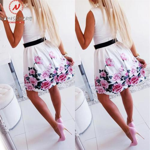 Women Summer Flower Printed A-Line Dress Fashion O-Neck/V-Neck Sleeveless Mini Dress Elegant Lady Steetwear Party Dress