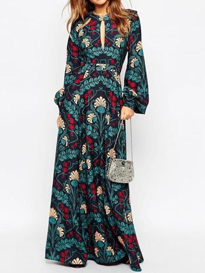 Women's Fashion Print Long Sleeve Long Dress