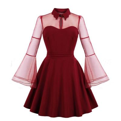robe de soiree woman Net yarn Short Evening Dress Sexy The horn sleeve Party formal dress Large size Long sleeve evening gown