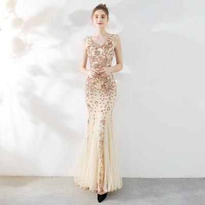 Luxury Floral Sequins Mermaid Evening Dress Sexy Women V Neck Backless Sleeveless Elegant Long Party Gowns Robe De Soiree