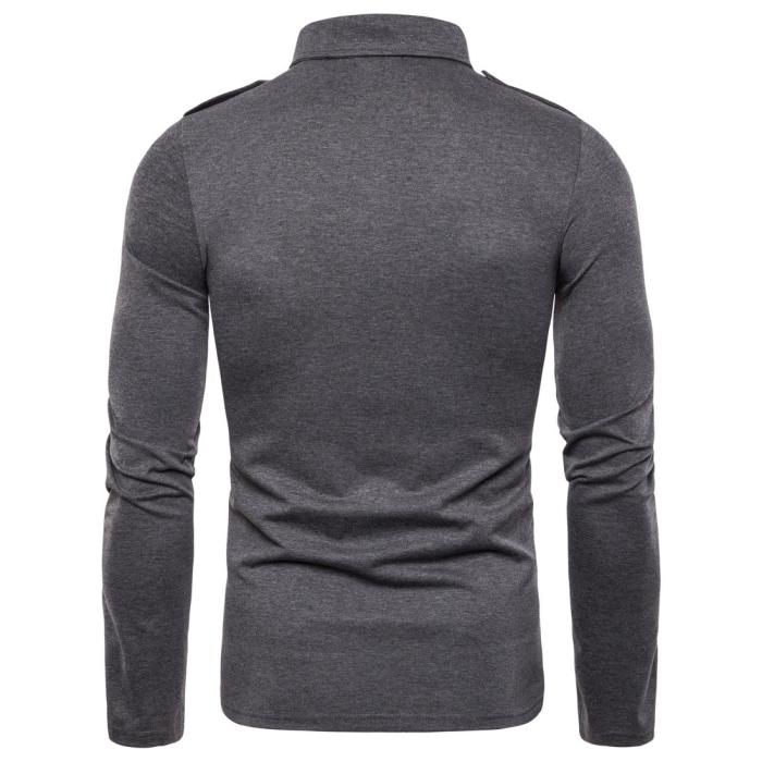 Men Army Wind Lapel Long Sleeve T-Shirt