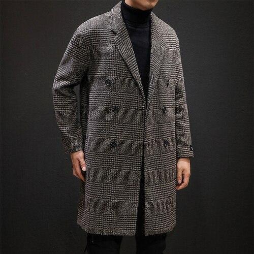 YASUGUOJI Casual Double Breasted Mens Wool Overcoat Winter 2019 Houndstooth Jacket Men Turn-down Collar Long Woollen Wind Coat