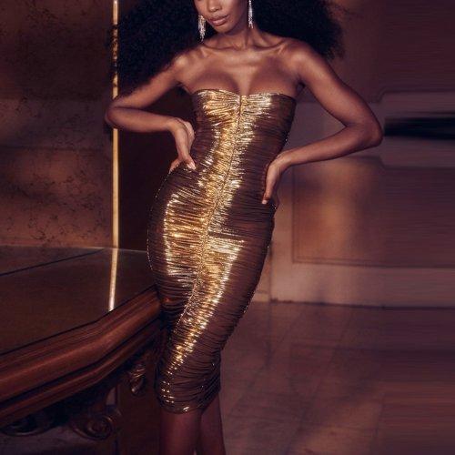 Women's Shiny Sexy Slim Fit Hip Mini Crinkled Nightclub Wrap Dress