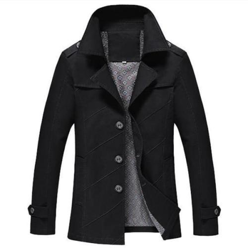 Casual Fashion Slim Plain Button Long Sleeve Men Outerwear