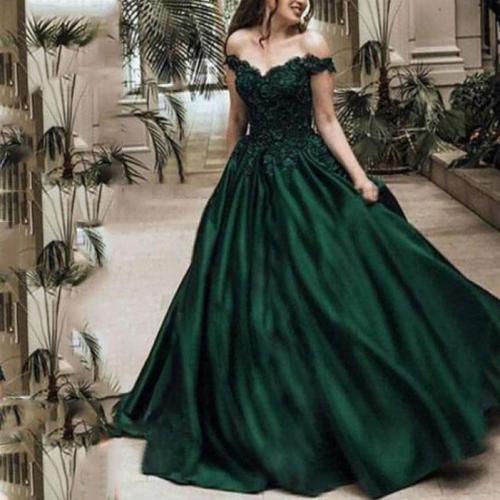 Sexy Lace Off Shoulder Plain Evening Dress