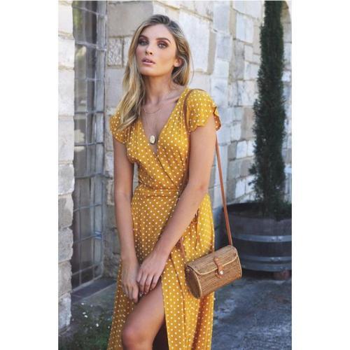 2019 Short Sleeve Women Dress Holiday Polka Dot Maxi V-neck Long Shirt Dress Sexy High Split Retro Fashion Long Dress