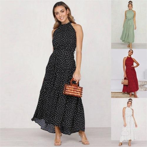2020 Women's Spring Summer New Fashion Daily Casual Bohemian Sexy Sleeveless Polka Dot Beach Party Round Neck High Waist Dress