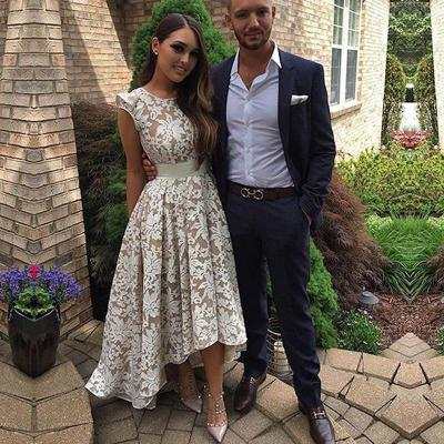 New arrival Evening Dresse Formal vestido noiva sereia satin prom party robe de soiree high-low champagne lace gelinlik 2019