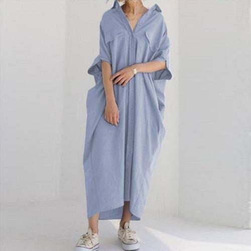 Solid Shirt Dress Women's Casual Sundress 3/4 Sleeve Lapel Robe Plus Size 5XL Maxi Dresses