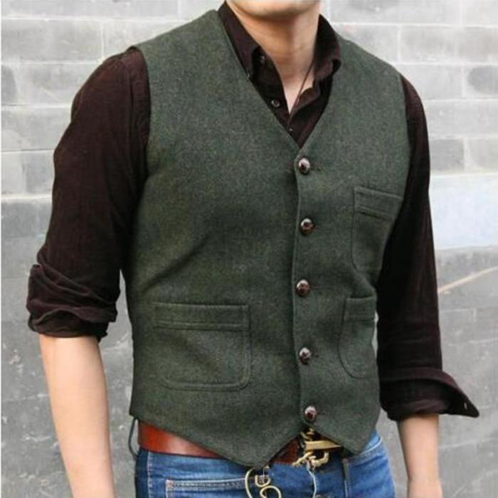 Men's Fashion Single-breasted V-Neck Pure Color Tank Top