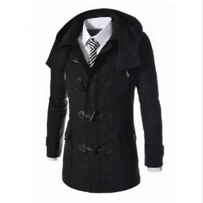 2020 New Winter Mens Woolen Coats Slim Fit Casual Long Overcoats Fashion Solid Detachable Hooded Outerwear Plus Size M-3XL