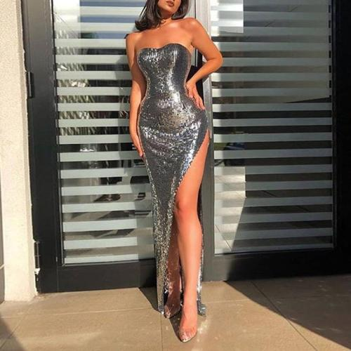 Sexy open shoulder high fork sequins evening dress