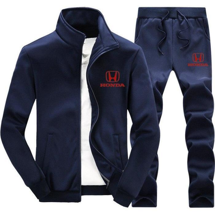 Autumn and winter men's sportswear suit Sweatshirt zipper Hoodie sports suit men's casual Honda logo print 2-piece jacket logo p