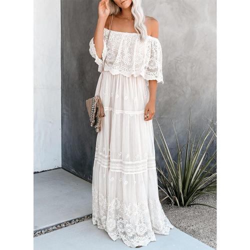 Slash Neck Off Shoulder Lace Dresses Plus Size Vintage Sexy Long White Summer Maxi Dresses