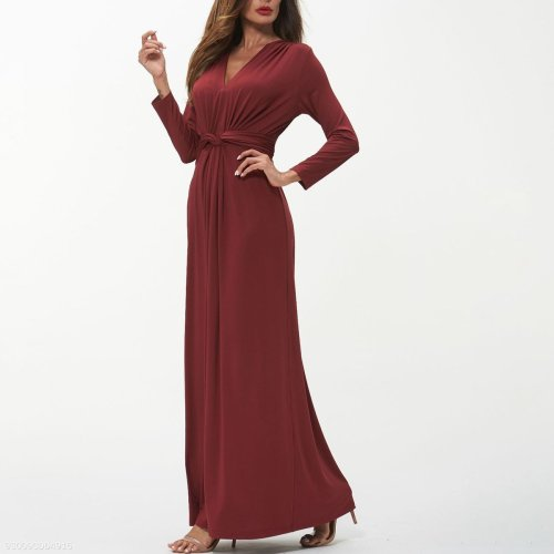 Sexy V-Neck Plain Maxi Evening Dress