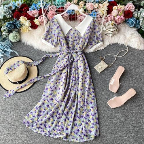 JOYMANMALL Women Summer Floral Midi Dress Korean Vintage Peter Pan Collar A-line Dress Casual Vacation Boho Print Beach Sundress