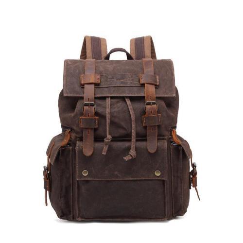 Men's oil wax canvas outdoor travel backpack