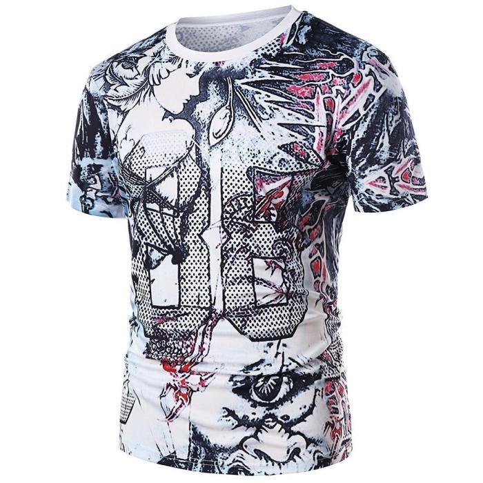 Leaves Goddess Print Round Neck T-shirt