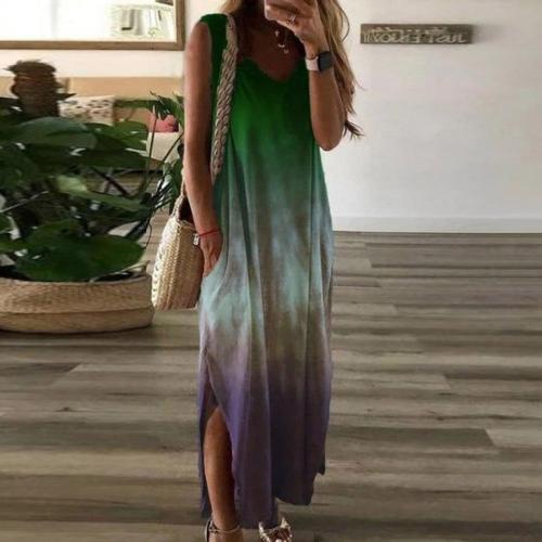 Colorful Gradient Spaghetti Strap Tie-dye Dresses 2020  Boho V Neck Pocket Beach Long Casual Dress