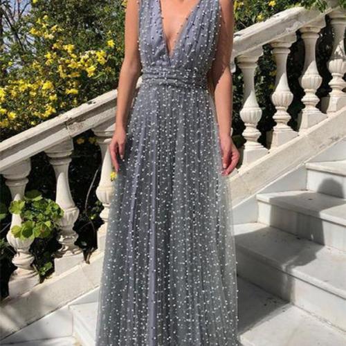 Sexy Deep V Neck Sleeveless Bare Back Net Yarn Dress